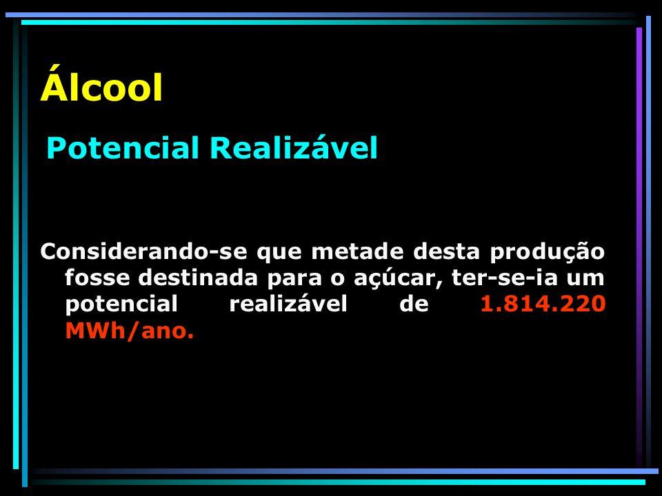 Álcool Potencial Teórico A produção anual local de álcool é de 1,16 milhões de toneladas (85 kg de álcool para cada 1000 kg).