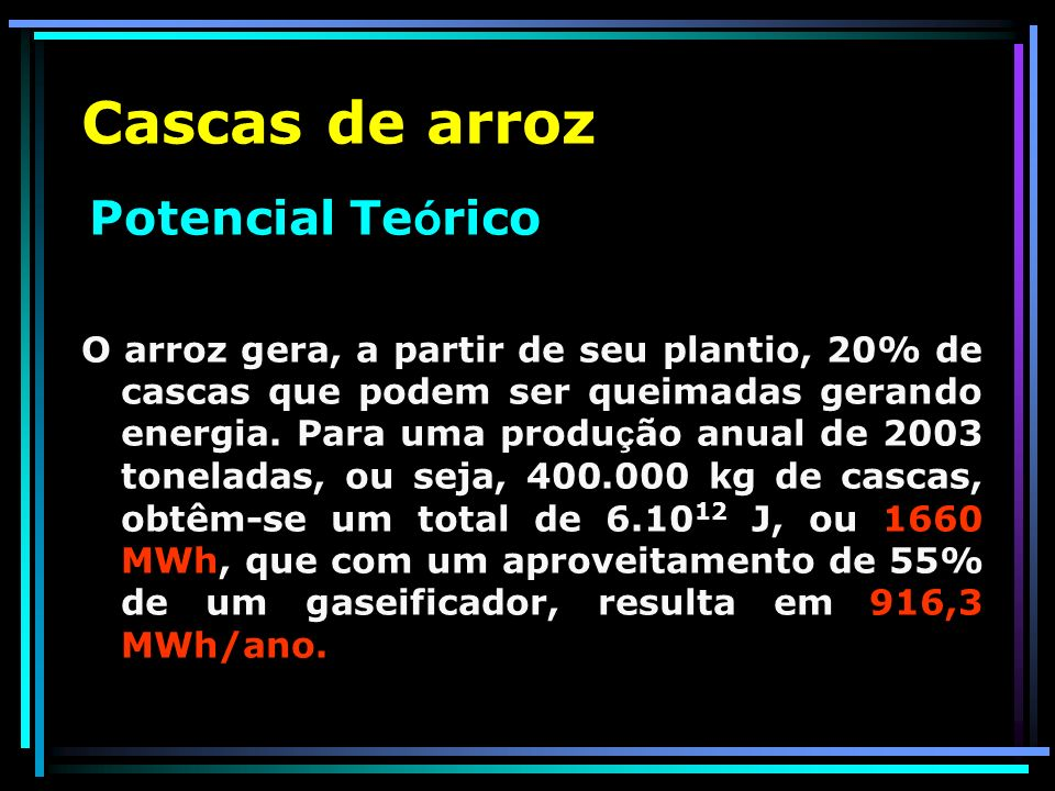 Álcool Potencial Realizável Considerando-se que metade desta produção fosse destinada para o açúcar, ter-se-ia um potencial realizável de 1.814.220 MWh/ano.