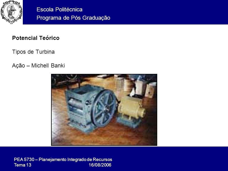 PEA 5730 – Planejamento Integrado de Recursos Tema 13 16/08/2006 Escola Politécnica Programa de Pós Graduação Potencial Teórico Tipos de Turbina Ação – Michell Banki
