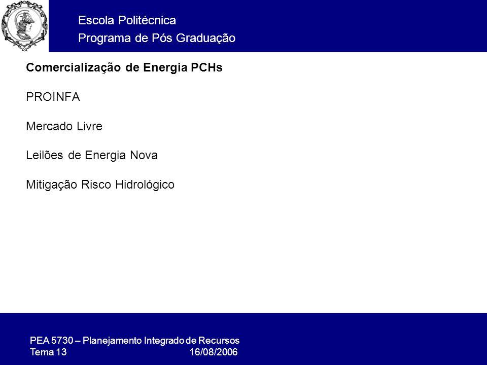PEA 5730 – Planejamento Integrado de Recursos Tema 13 16/08/2006 Escola Politécnica Programa de Pós Graduação Comercialização de Energia PCHs PROINFA Mercado Livre Leilões de Energia Nova Mitigação Risco Hidrológico