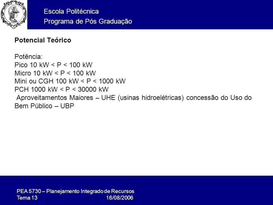 PEA 5730 – Planejamento Integrado de Recursos Tema 13 16/08/2006 Escola Politécnica Programa de Pós Graduação Potencial Teórico Potência: Pico 10 kW < P < 100 kW Micro 10 kW < P < 100 kW Mini ou CGH 100 kW < P < 1000 kW PCH 1000 kW < P < 30000 kW Aproveitamentos Maiores – UHE (usinas hidroelétricas) concessão do Uso do Bem Público – UBP