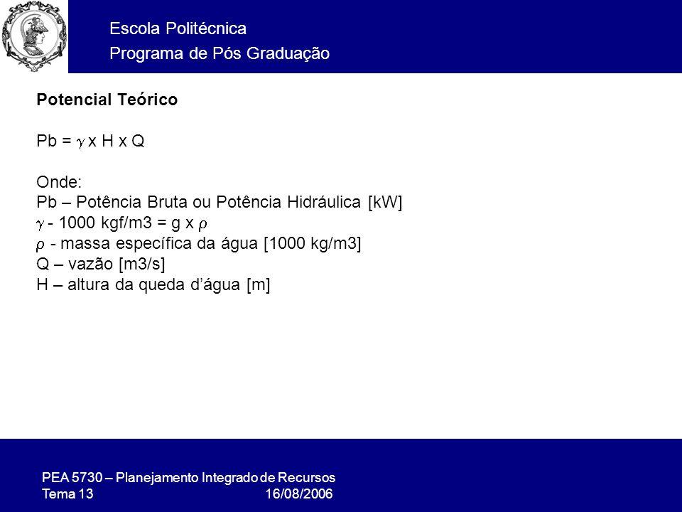 PEA 5730 – Planejamento Integrado de Recursos Tema 13 16/08/2006 Escola Politécnica Programa de Pós Graduação Potencial Teórico Pb = x H x Q Onde: Pb – Potência Bruta ou Potência Hidráulica [kW] - 1000 kgf/m3 = g x - massa específica da água [1000 kg/m3] Q – vazão [m3/s] H – altura da queda dágua [m]