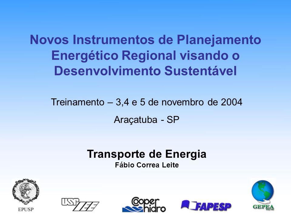 Transporte de Energia Fábio Correa Leite Treinamento – 3,4 e 5 de novembro de 2004 Araçatuba - SP Novos Instrumentos de Planejamento Energético Regional visando o Desenvolvimento Sustentável