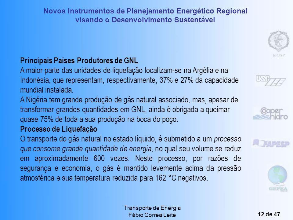 Novos Instrumentos de Planejamento Energético Regional visando o Desenvolvimento Sustentável Transporte de Energia Fábio Correa Leite 11 de 47 B) Gás