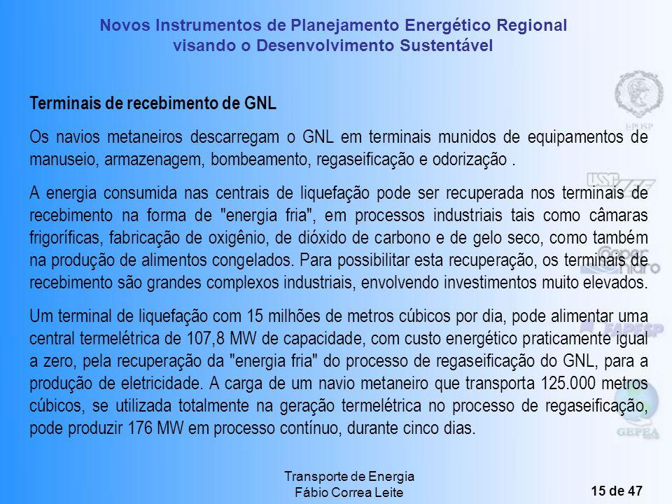 Novos Instrumentos de Planejamento Energético Regional visando o Desenvolvimento Sustentável Transporte de Energia Fábio Correa Leite 14 de 47 As esfe