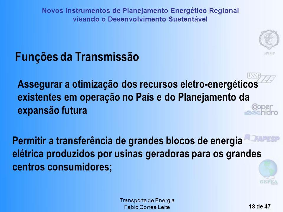 Novos Instrumentos de Planejamento Energético Regional visando o Desenvolvimento Sustentável Transporte de Energia Fábio Correa Leite 17 de 47 O Papel