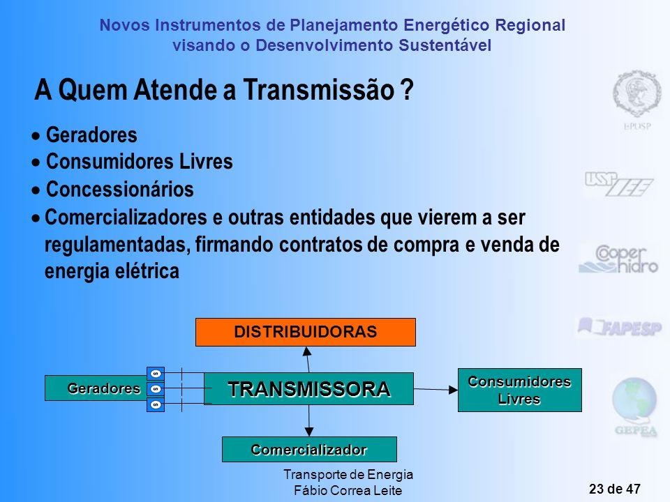 Novos Instrumentos de Planejamento Energético Regional visando o Desenvolvimento Sustentável Transporte de Energia Fábio Correa Leite 22 de 47 Rede Bá