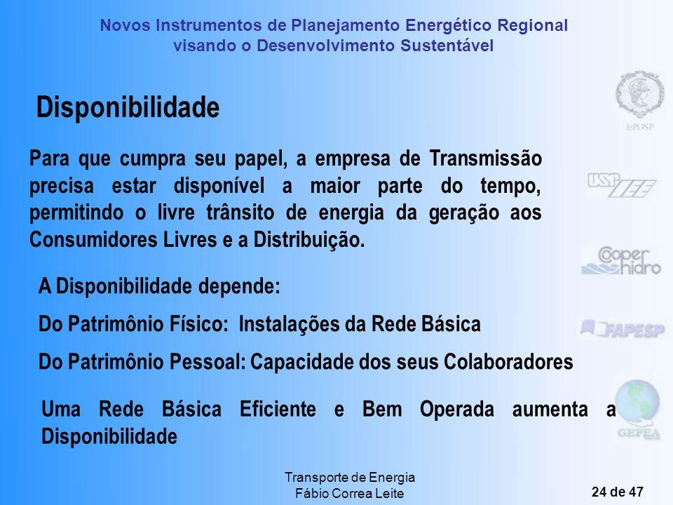 Novos Instrumentos de Planejamento Energético Regional visando o Desenvolvimento Sustentável Transporte de Energia Fábio Correa Leite 23 de 47 Comerci