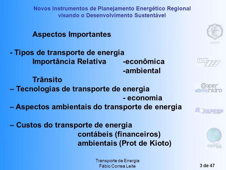 Novos Instrumentos de Planejamento Energético Regional visando o Desenvolvimento Sustentável Transporte de Energia Fábio Correa Leite 3 de 47 Aspectos Importantes - Tipos de transporte de energia Importância Relativa-econômica -ambiental Trânsito – Tecnologias de transporte de energia - economia – Aspectos ambientais do transporte de energia – Custos do transporte de energia contábeis (financeiros) ambientais (Prot de Kioto)