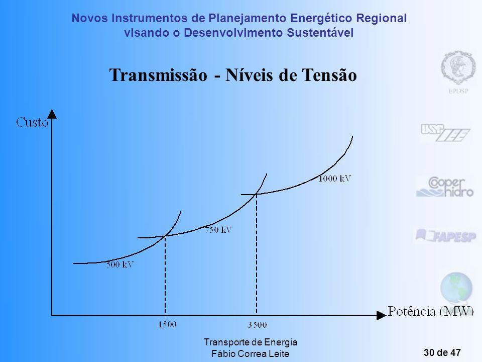 Novos Instrumentos de Planejamento Energético Regional visando o Desenvolvimento Sustentável Transporte de Energia Fábio Correa Leite 29 de 47 Tecnolo