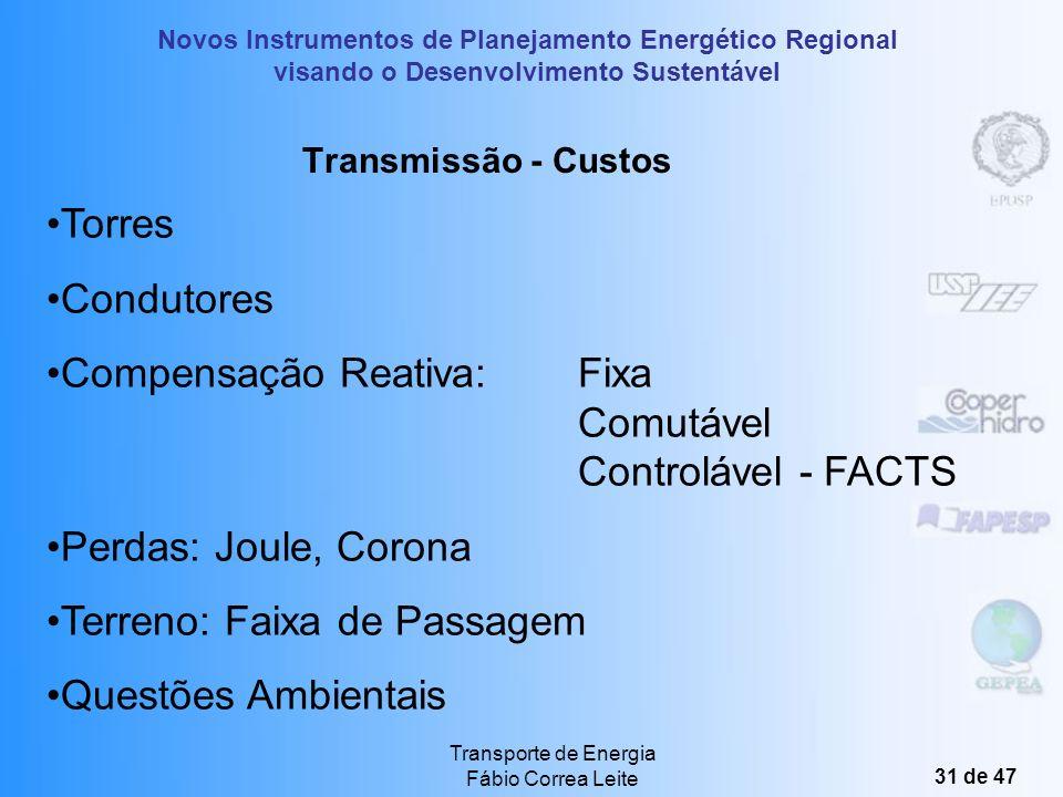 Novos Instrumentos de Planejamento Energético Regional visando o Desenvolvimento Sustentável Transporte de Energia Fábio Correa Leite 30 de 47 Transmi