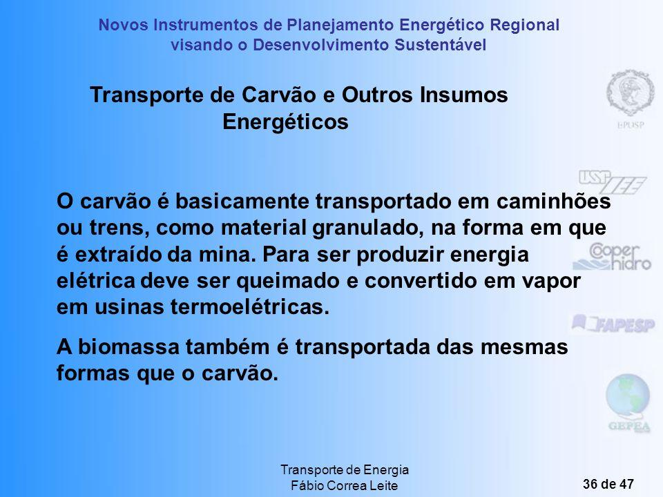 Novos Instrumentos de Planejamento Energético Regional visando o Desenvolvimento Sustentável Transporte de Energia Fábio Correa Leite 35 de 47 Transmi