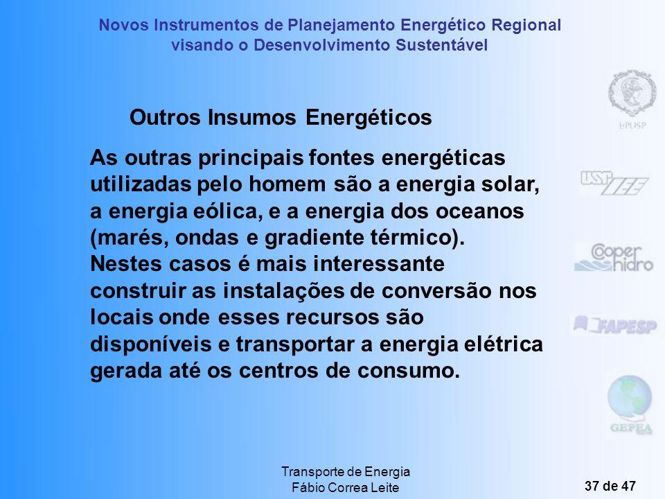 Novos Instrumentos de Planejamento Energético Regional visando o Desenvolvimento Sustentável Transporte de Energia Fábio Correa Leite 36 de 47 Transpo