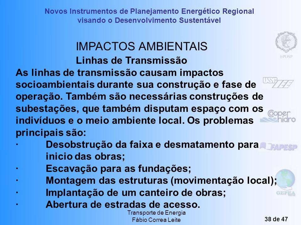 Novos Instrumentos de Planejamento Energético Regional visando o Desenvolvimento Sustentável Transporte de Energia Fábio Correa Leite 37 de 47 Outros