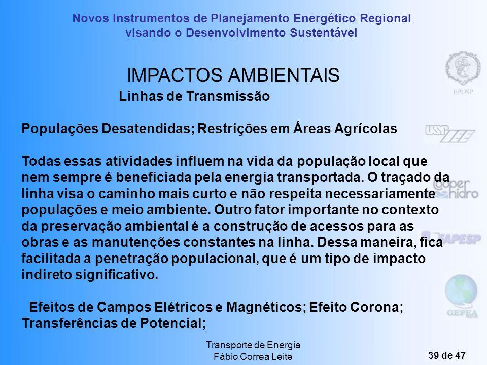 Novos Instrumentos de Planejamento Energético Regional visando o Desenvolvimento Sustentável Transporte de Energia Fábio Correa Leite 38 de 47 IMPACTO