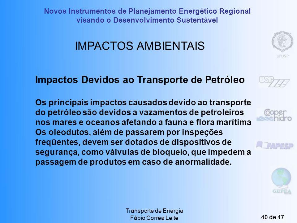 Novos Instrumentos de Planejamento Energético Regional visando o Desenvolvimento Sustentável Transporte de Energia Fábio Correa Leite 39 de 47 Linhas