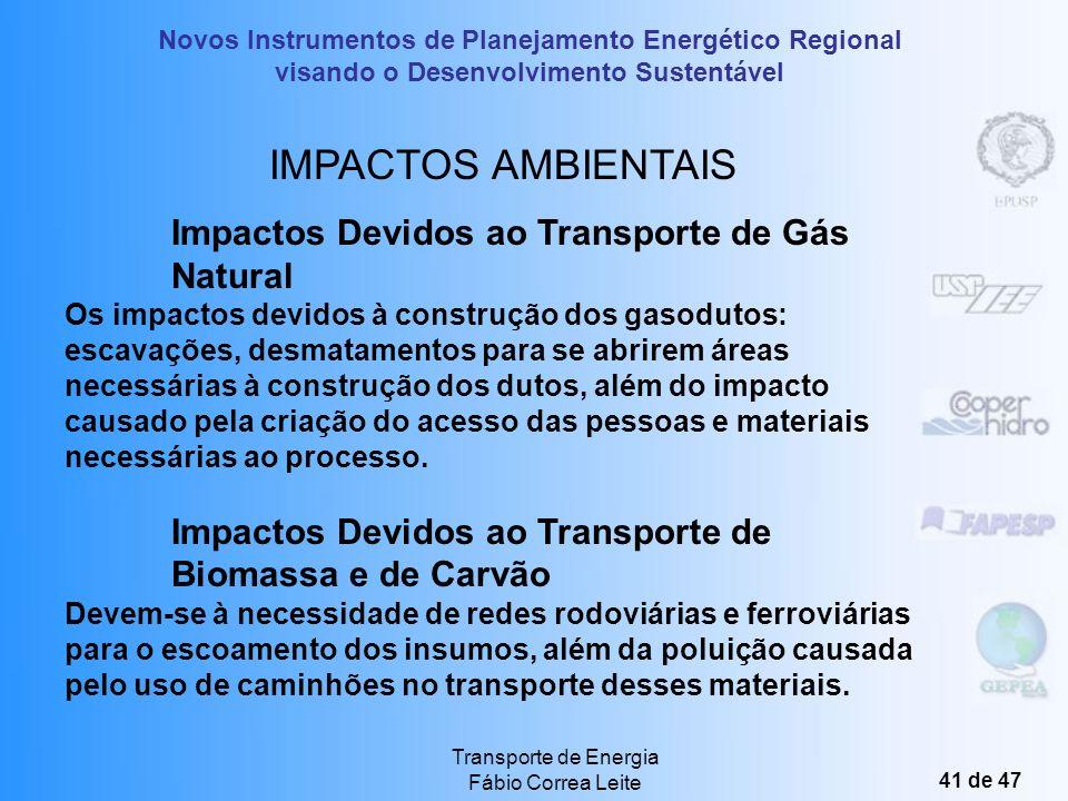 Novos Instrumentos de Planejamento Energético Regional visando o Desenvolvimento Sustentável Transporte de Energia Fábio Correa Leite 40 de 47 IMPACTO