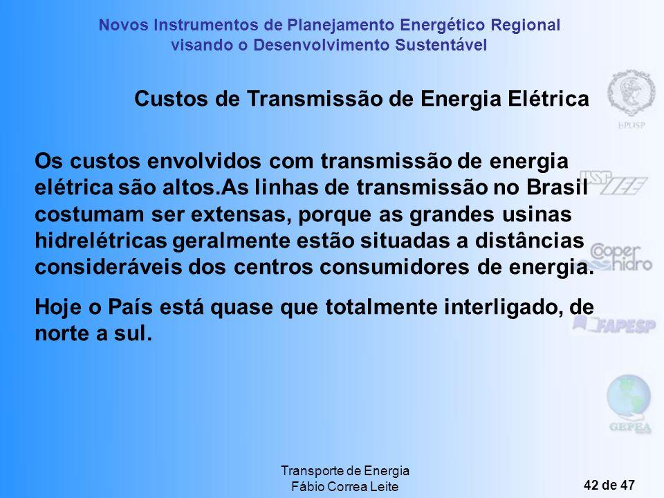 Novos Instrumentos de Planejamento Energético Regional visando o Desenvolvimento Sustentável Transporte de Energia Fábio Correa Leite 41 de 47 IMPACTO