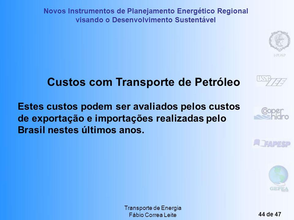Novos Instrumentos de Planejamento Energético Regional visando o Desenvolvimento Sustentável Transporte de Energia Fábio Correa Leite 43 de 47 Custos