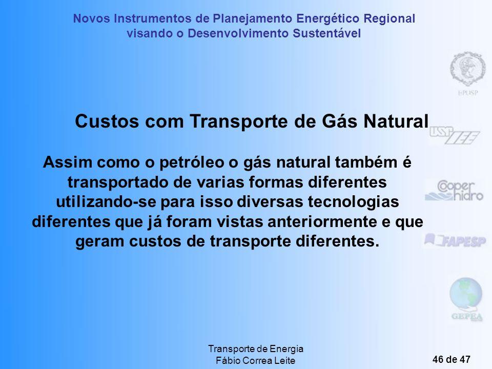 Novos Instrumentos de Planejamento Energético Regional visando o Desenvolvimento Sustentável Transporte de Energia Fábio Correa Leite 45 de 47 Dispênd