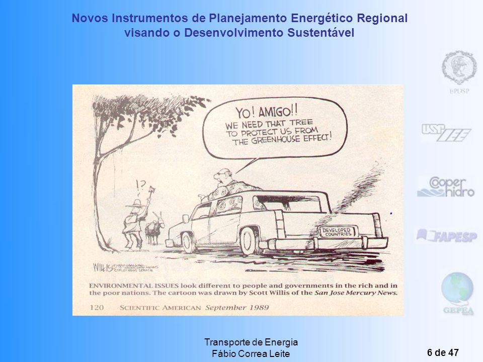 Novos Instrumentos de Planejamento Energético Regional visando o Desenvolvimento Sustentável Transporte de Energia Fábio Correa Leite 16 de 47 Usos Finais Produção de Energia Elétrica O Trânsito de Energia Energia Elétrica: Trânsito feito através de cabos e equipamentos elétricos