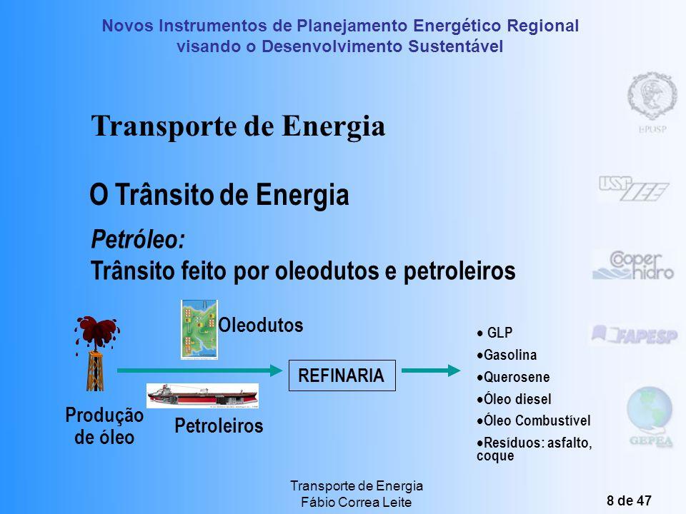 Novos Instrumentos de Planejamento Energético Regional visando o Desenvolvimento Sustentável Transporte de Energia Fábio Correa Leite 8 de 47 GLP Gasolina Querosene Óleo diesel Óleo Combustível Resíduos: asfalto, coque Petroleiros Oleodutos REFINARIA O Trânsito de Energia Petróleo: Trânsito feito por oleodutos e petroleiros Produção de óleo Transporte de Energia