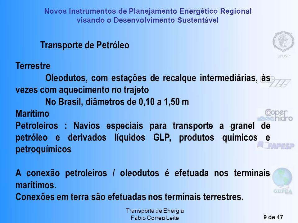 Novos Instrumentos de Planejamento Energético Regional visando o Desenvolvimento Sustentável Transporte de Energia Fábio Correa Leite 9 de 47 Transporte de Petróleo Terrestre Oleodutos, com estações de recalque intermediárias, às vezes com aquecimento no trajeto No Brasil, diâmetros de 0,10 a 1,50 m Marítimo Petroleiros : Navios especiais para transporte a granel de petróleo e derivados líquidos GLP, produtos químicos e petroquímicos A conexão petroleiros / oleodutos é efetuada nos terminais marítimos.