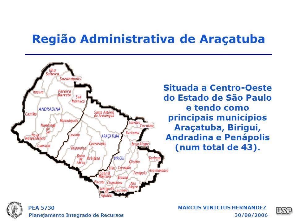 PEA 5730 Planejamento Integrado de Recursos30/08/2006 MARCUS VINICIUS HERNANDEZ Região Administrativa de Araçatuba Situada a Centro-Oeste do Estado de São Paulo e tendo como principais municípios Araçatuba, Birigui, Andradina e Penápolis (num total de 43).