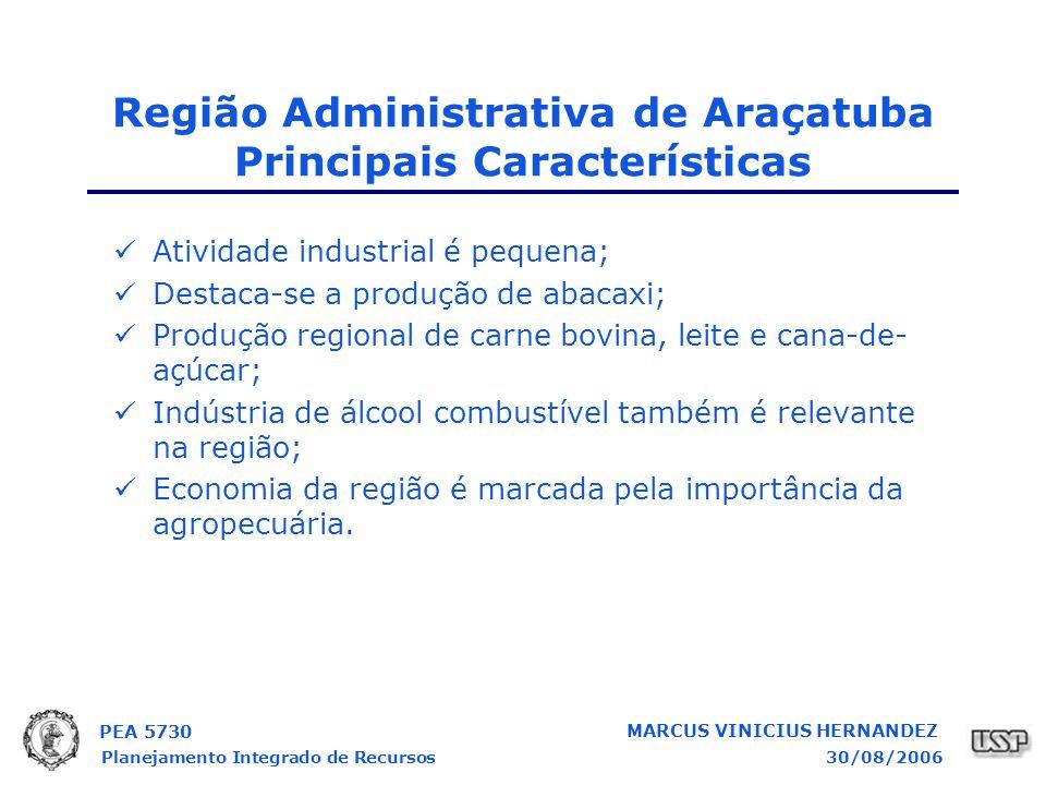 PEA 5730 Planejamento Integrado de Recursos30/08/2006 MARCUS VINICIUS HERNANDEZ Atividade industrial é pequena; Destaca-se a produção de abacaxi; Produção regional de carne bovina, leite e cana-de- açúcar; Indústria de álcool combustível também é relevante na região; Economia da região é marcada pela importância da agropecuária.