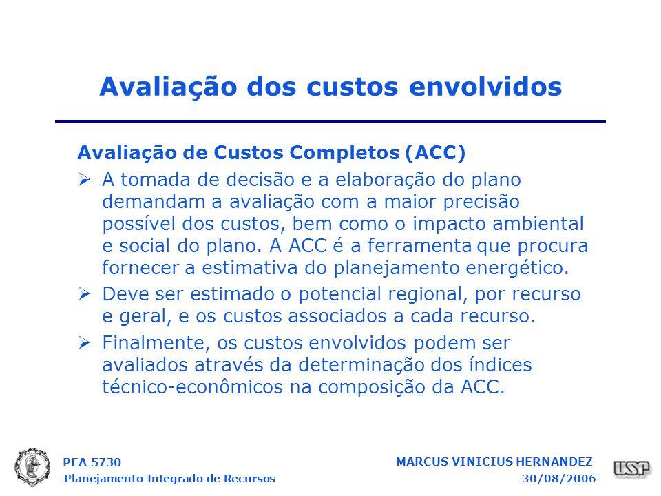 PEA 5730 Planejamento Integrado de Recursos30/08/2006 MARCUS VINICIUS HERNANDEZ Avaliação dos custos envolvidos Avaliação de Custos Completos (ACC) A