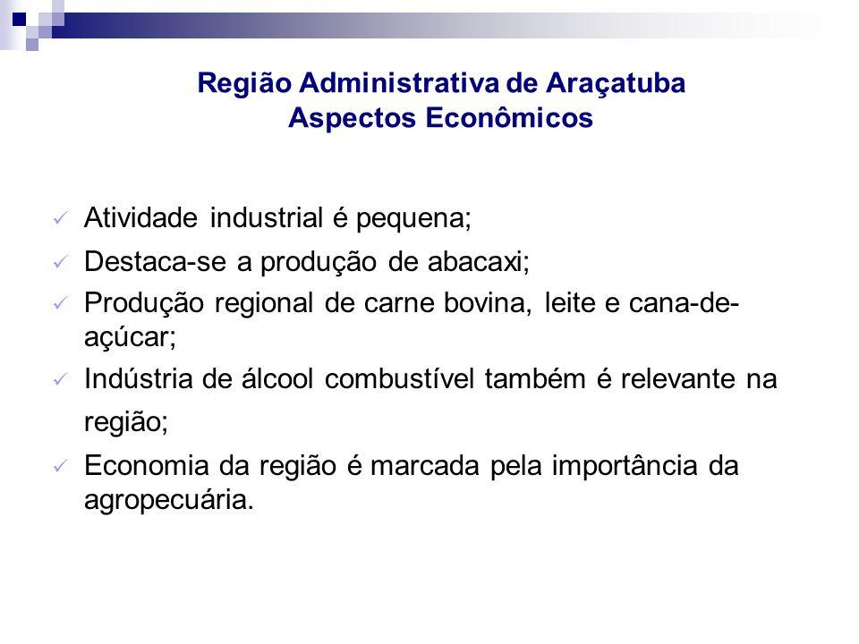 Atividade industrial é pequena; Destaca-se a produção de abacaxi; Produção regional de carne bovina, leite e cana-de- açúcar; Indústria de álcool comb
