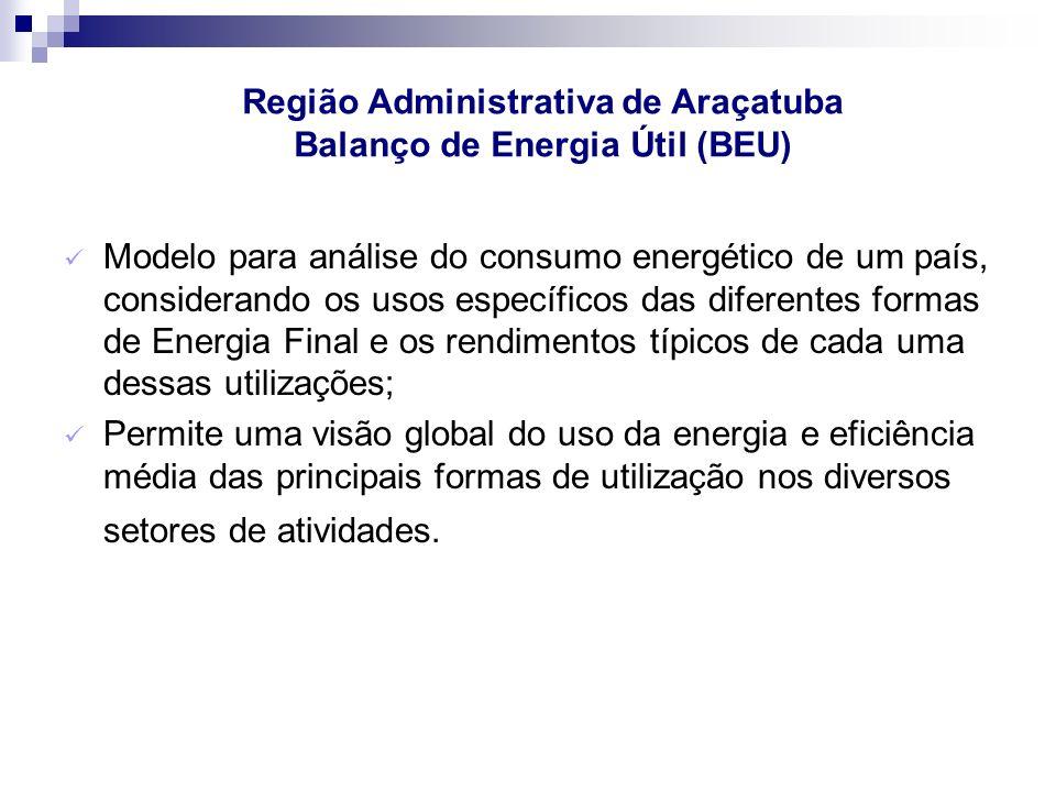 Modelo para análise do consumo energético de um país, considerando os usos específicos das diferentes formas de Energia Final e os rendimentos típicos