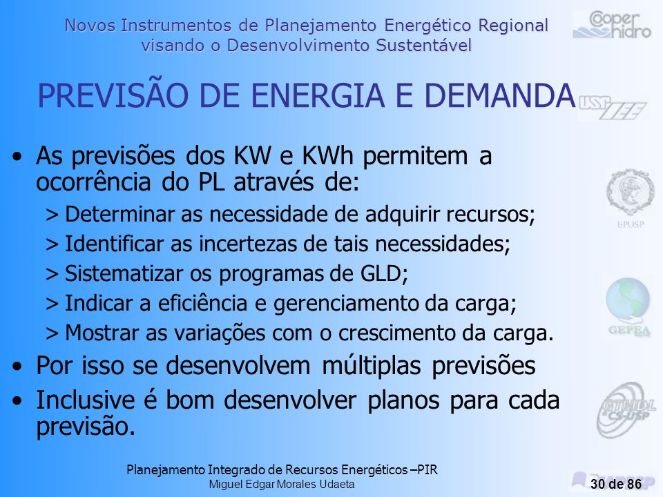 Novos Instrumentos de Planejamento Energético Regional visando o Desenvolvimento Sustentável Planejamento Integrado de Recursos Energéticos –PIR Miguel Edgar Morales Udaeta 29 de 86 custo da energia conservada vs.