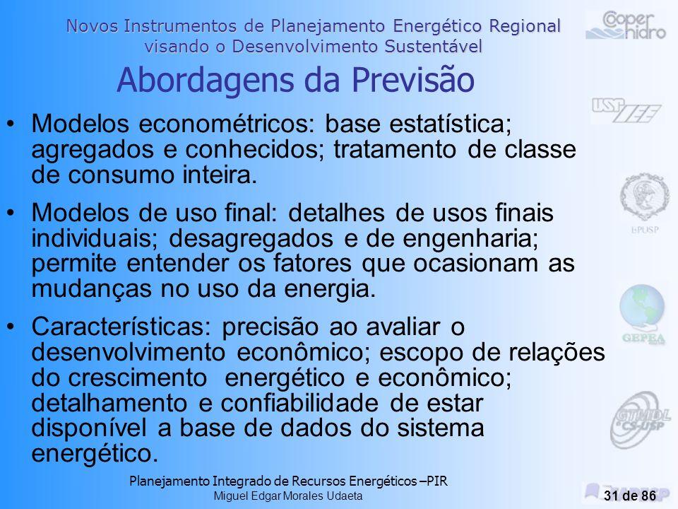 Novos Instrumentos de Planejamento Energético Regional visando o Desenvolvimento Sustentável Planejamento Integrado de Recursos Energéticos –PIR Miguel Edgar Morales Udaeta 30 de 86 PREVISÃO DE ENERGIA E DEMANDA As previsões dos KW e KWh permitem a ocorrência do PL através de: >Determinar as necessidade de adquirir recursos; >Identificar as incertezas de tais necessidades; >Sistematizar os programas de GLD; >Indicar a eficiência e gerenciamento da carga; >Mostrar as variações com o crescimento da carga.