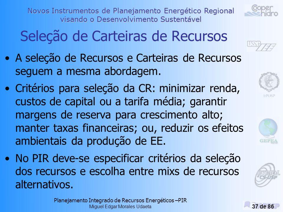 Novos Instrumentos de Planejamento Energético Regional visando o Desenvolvimento Sustentável Planejamento Integrado de Recursos Energéticos –PIR Miguel Edgar Morales Udaeta 36 de 86