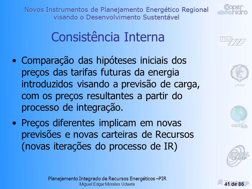 Novos Instrumentos de Planejamento Energético Regional visando o Desenvolvimento Sustentável Planejamento Integrado de Recursos Energéticos –PIR Miguel Edgar Morales Udaeta 40 de 86 Processo Composto de 9 Etapas: 1 - Inventario Regional 2 - Carac.Demandas 3 - Participação En_In 4 - Elementos Análise 5 - ACC 6 - Plano preferencial 7 - Cenário 8 - Análise soc.