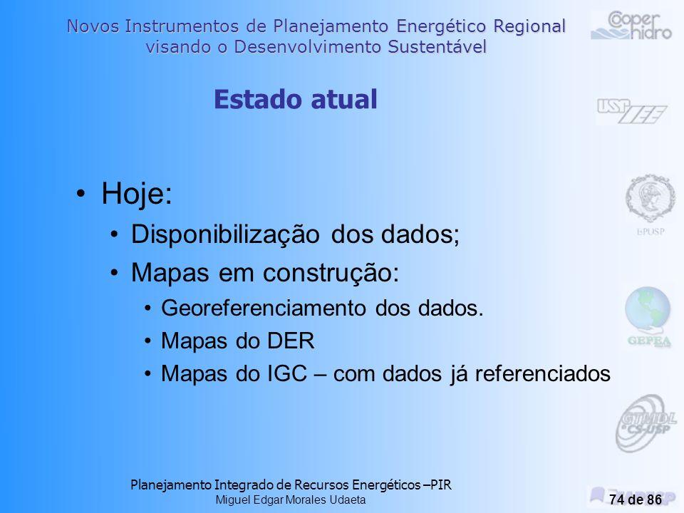 Novos Instrumentos de Planejamento Energético Regional visando o Desenvolvimento Sustentável Planejamento Integrado de Recursos Energéticos –PIR Miguel Edgar Morales Udaeta 73 de 86 Dados: CooperHidro; Governo Estadual; IBGE; INPE; Pesquisa em campo.