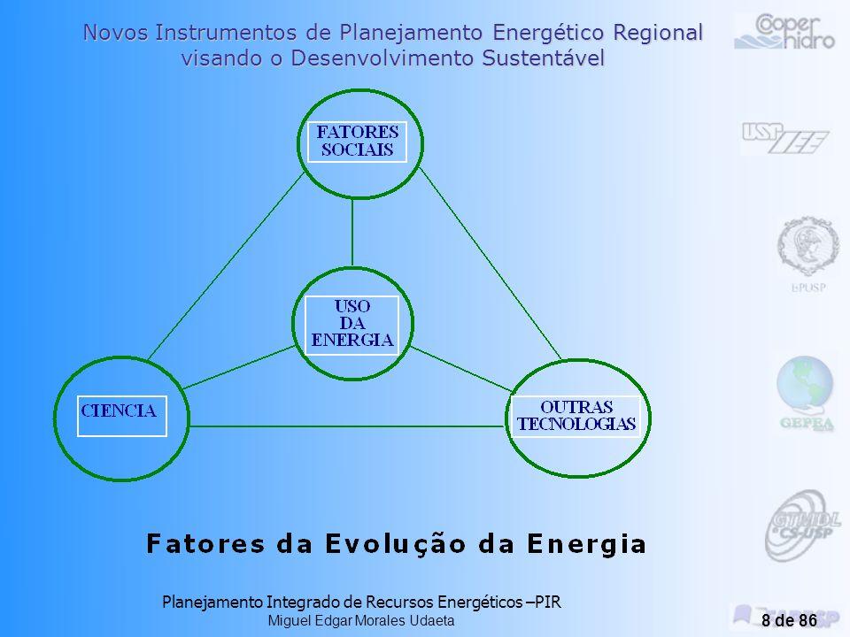Novos Instrumentos de Planejamento Energético Regional visando o Desenvolvimento Sustentável Planejamento Integrado de Recursos Energéticos –PIR Miguel Edgar Morales Udaeta 38 de 86 Metodologias de Integração Instrumentos Computacionais de grande porte e existem muitas tipologias desenvolvidas (no GEPEA-USP está em desenvolvimento o SAGe) Tem-se duas abordagens para avaliar carteiras de recursos alternativos: Otimização matemática, seleciona o mix de opções de recursos que satisfaça a função objetivo estabelecida (ex.