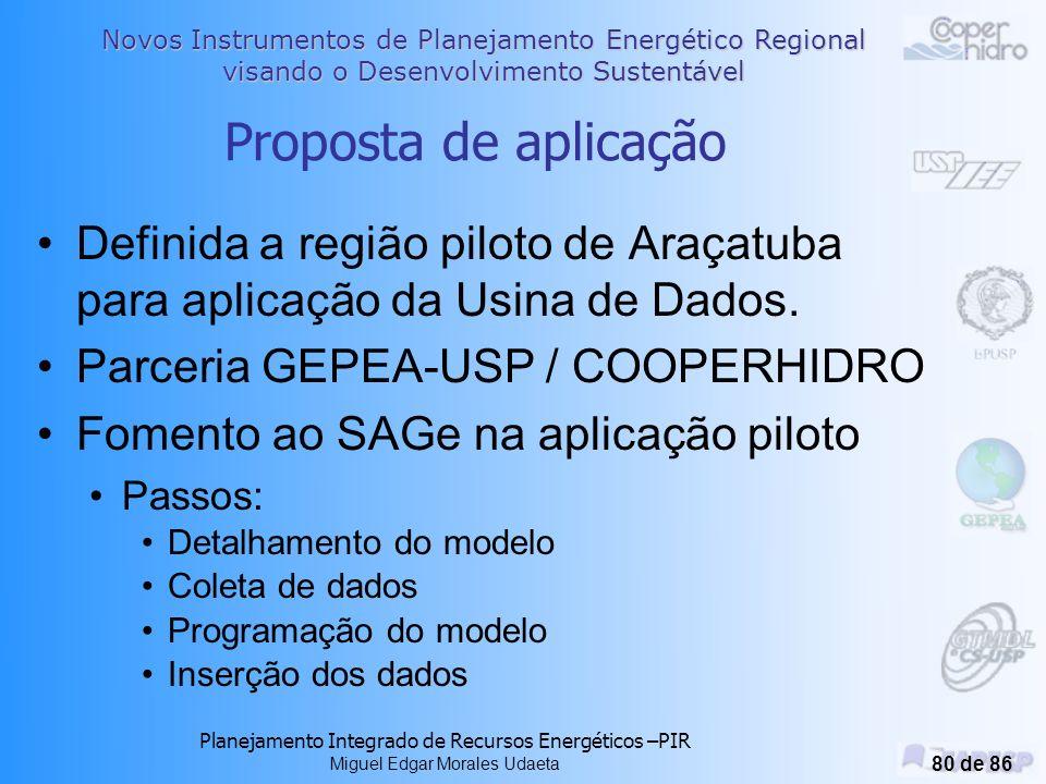 Novos Instrumentos de Planejamento Energético Regional visando o Desenvolvimento Sustentável Planejamento Integrado de Recursos Energéticos –PIR Miguel Edgar Morales Udaeta 79 de 86 Modelo de dados geo-energético