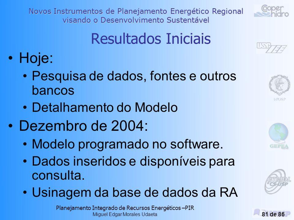 Novos Instrumentos de Planejamento Energético Regional visando o Desenvolvimento Sustentável Planejamento Integrado de Recursos Energéticos –PIR Miguel Edgar Morales Udaeta 80 de 86 Proposta de aplicação Definida a região piloto de Araçatuba para aplicação da Usina de Dados.