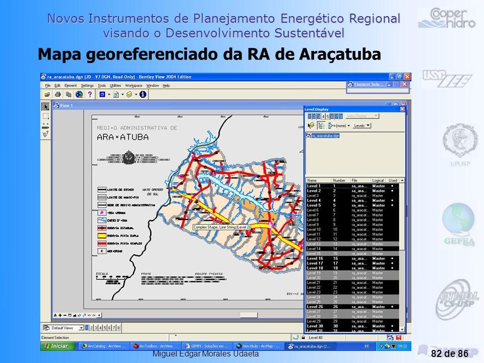 Novos Instrumentos de Planejamento Energético Regional visando o Desenvolvimento Sustentável Planejamento Integrado de Recursos Energéticos –PIR Miguel Edgar Morales Udaeta 81 de 86 Resultados Iniciais Hoje: Pesquisa de dados, fontes e outros bancos Detalhamento do Modelo Dezembro de 2004: Modelo programado no software.
