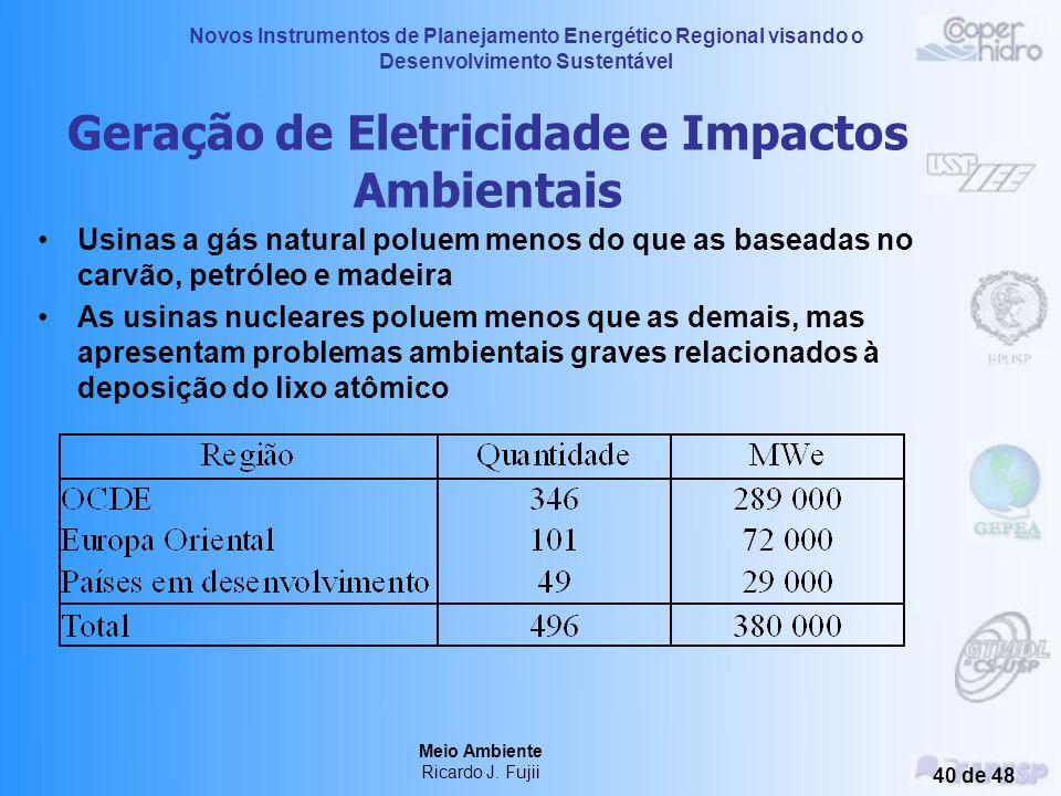 Novos Instrumentos de Planejamento Energético Regional visando o Desenvolvimento Sustentável Meio Ambiente Ricardo J. Fujii 39 de 48 Emissões de monóx
