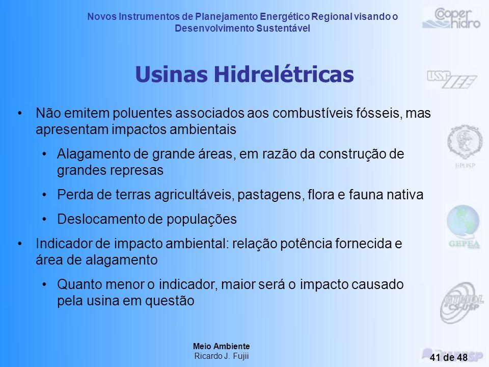 Novos Instrumentos de Planejamento Energético Regional visando o Desenvolvimento Sustentável Meio Ambiente Ricardo J. Fujii 40 de 48 Geração de Eletri