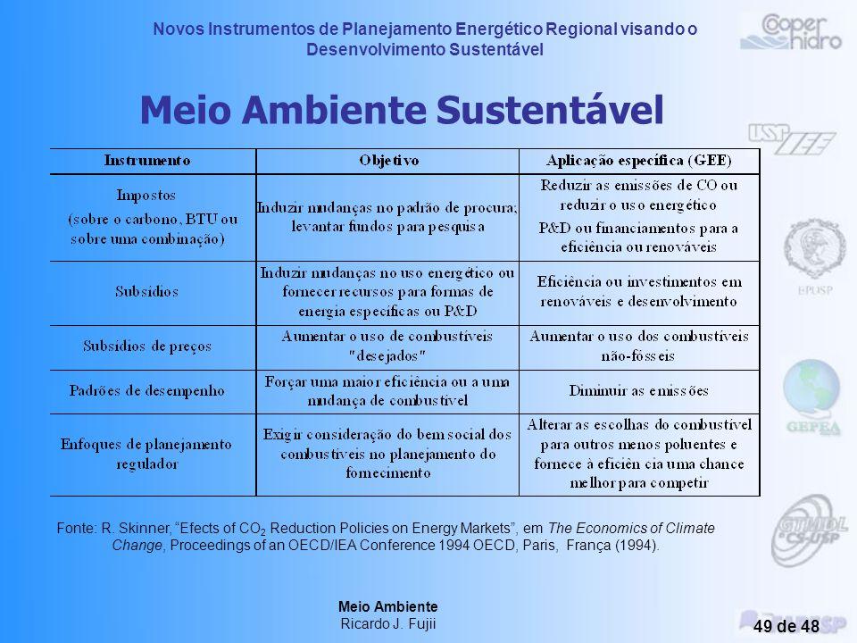 Novos Instrumentos de Planejamento Energético Regional visando o Desenvolvimento Sustentável Meio Ambiente Ricardo J. Fujii 48 de 48 Reduções de Impac
