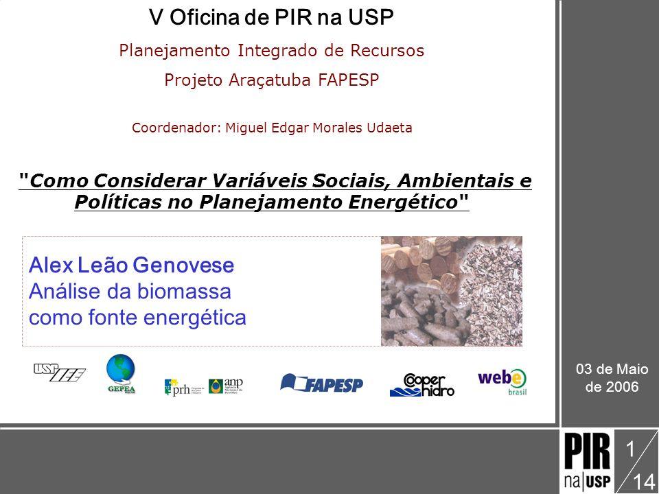 Alex Leão Genovese V Oficina: Como Considerar Variáveis Sociais, Ambientais e Políticas no Planejamento Energético Biomassa como fonte energética 14 12 EQUIVALÊNCIAS ENERGÉTICAS