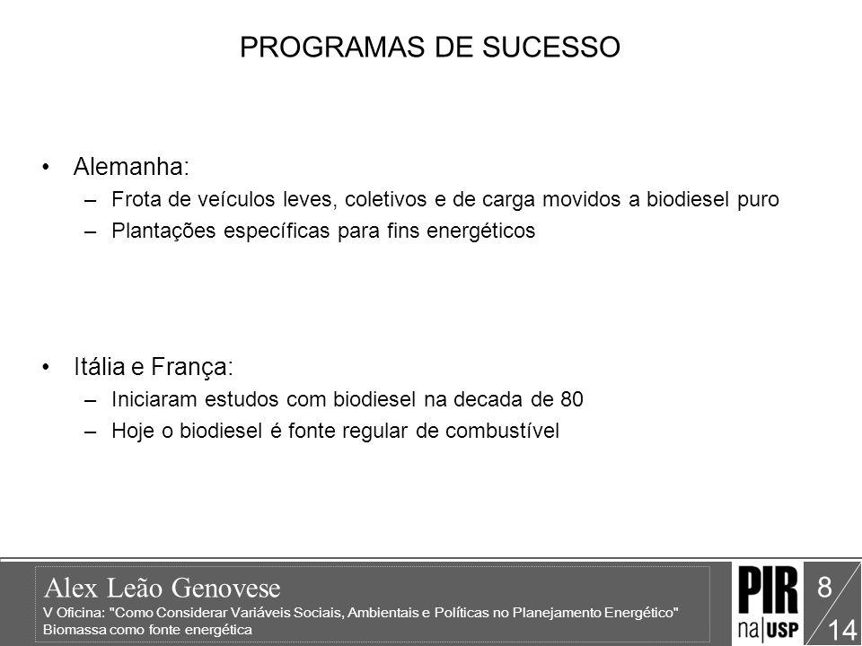 Alex Leão Genovese V Oficina: Como Considerar Variáveis Sociais, Ambientais e Políticas no Planejamento Energético Biomassa como fonte energética 14 9 BIOGÁS Gás inflamável produzido pela fermentação de matéria orgânica Composição média do biogás