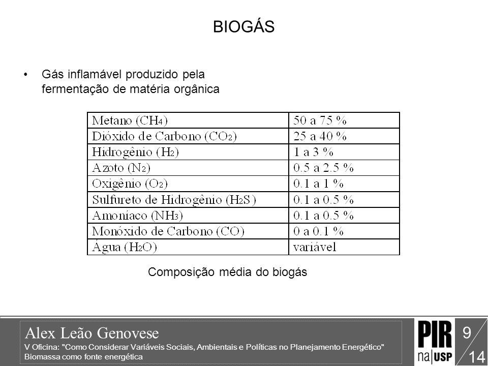 Alex Leão Genovese V Oficina: Como Considerar Variáveis Sociais, Ambientais e Políticas no Planejamento Energético Biomassa como fonte energética 14 10 VANTAGENS NA UTILIZAÇÃO DE BIOGÁS A redução das necessidades de lenha poupa as matas.