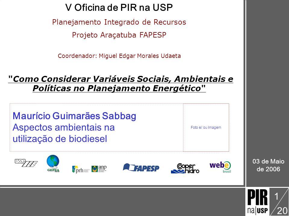Maurício Guimarães Sabbag V Oficina: Como Considerar Variáveis Sociais, Ambientais e Políticas no Planejamento Energético Aspectos ambientais na utilização de biodiesel 20 12