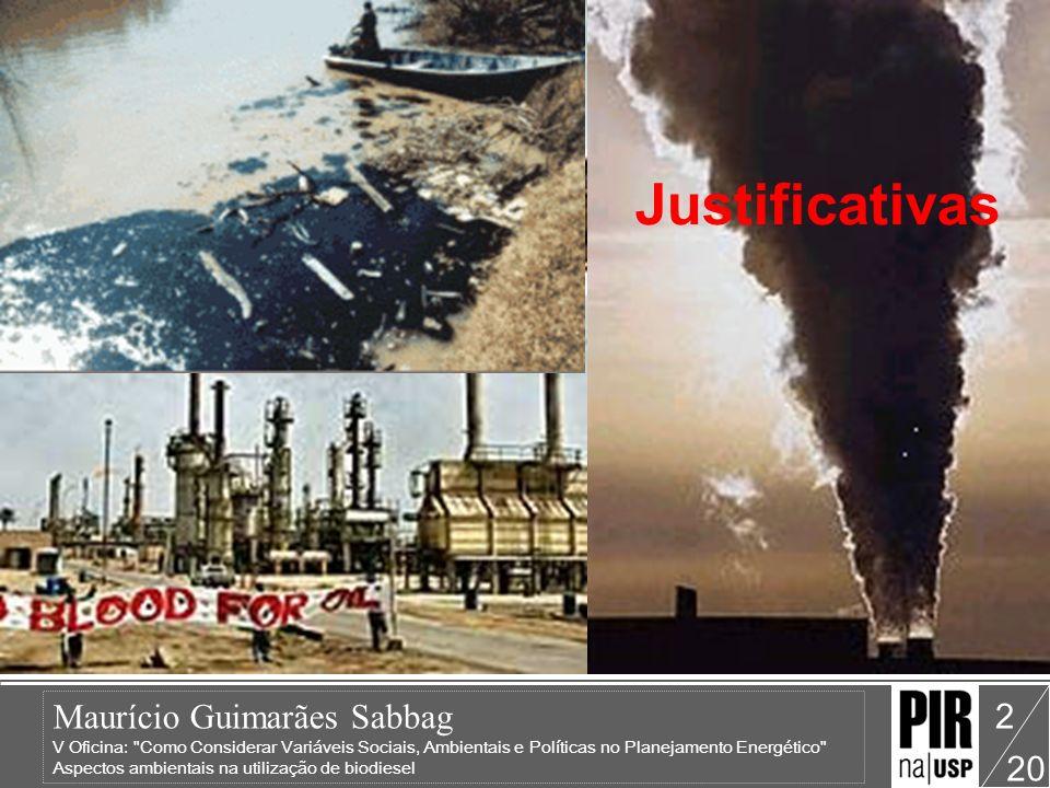Maurício Guimarães Sabbag V Oficina: Como Considerar Variáveis Sociais, Ambientais e Políticas no Planejamento Energético Aspectos ambientais na utilização de biodiesel 20 3 Os motores a óleo vegetal possibilitam uma redução enorme de gases poluentes, redução de até 53% de monóxido de carbono, 78% de dióxido de carbono (gás responsável pelo efeito estufa, que esta alterando o clima à escala mundial), além de não emitir dióxido de enxofre (um dos causadores da chuva ácida).