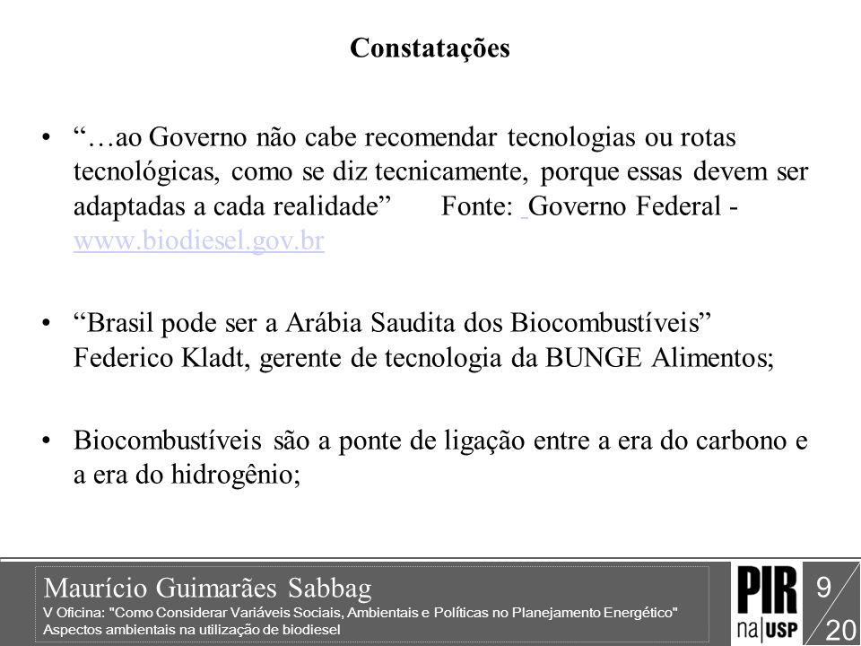 Maurício Guimarães Sabbag V Oficina: Como Considerar Variáveis Sociais, Ambientais e Políticas no Planejamento Energético Aspectos ambientais na utilização de biodiesel 20 10